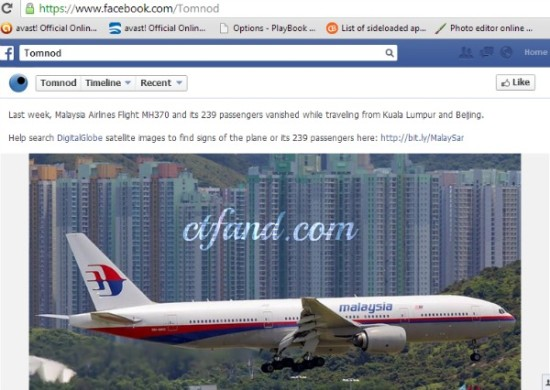 Facebook TOMNOD Dan Pesanan Mengenai Pencarian MH370