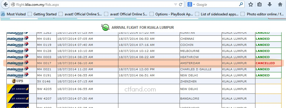 """Maklumat ketibaan pesawat yang ditandakan """"Cancelled"""".. Tiada pesawat yang akan tiba..."""